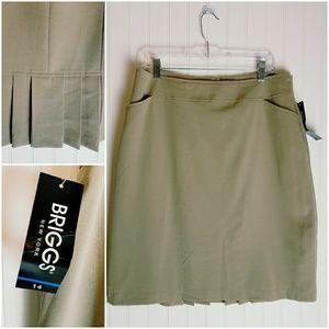Briggs Tan Dress Skirt with Back Kick Pleat Detail